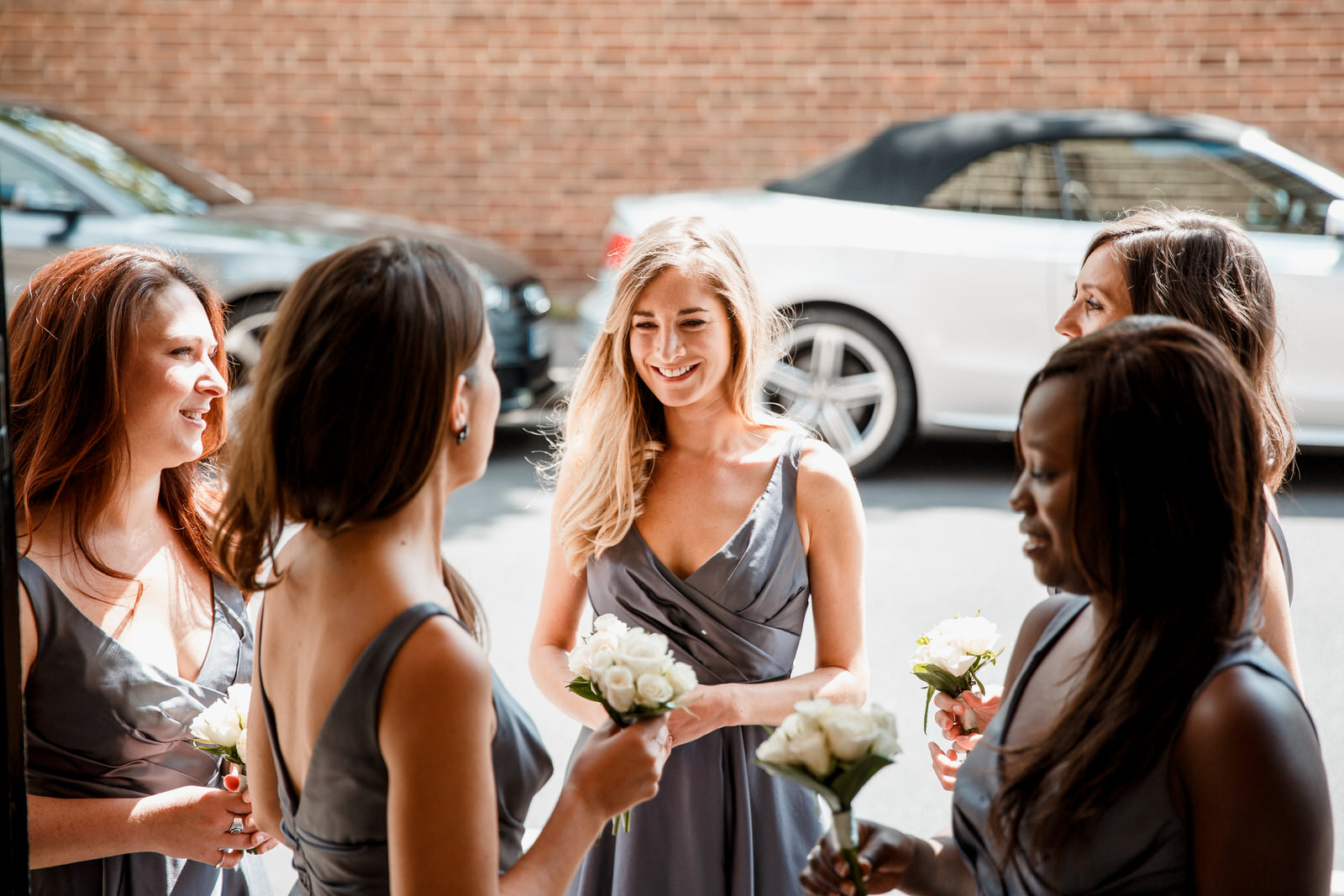 bridesmaids waiting for bride to arrive at church
