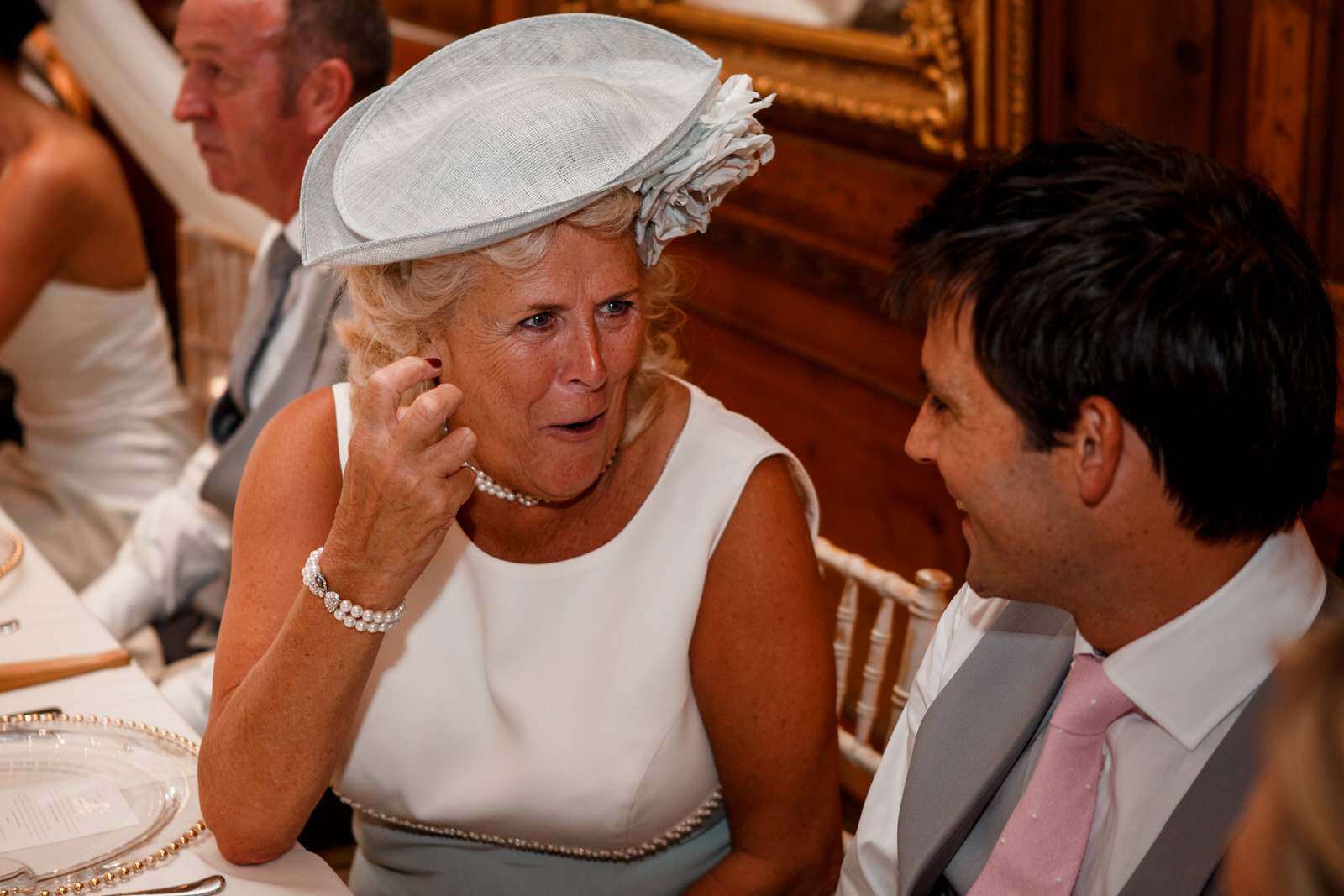 mum looking shocked at best man