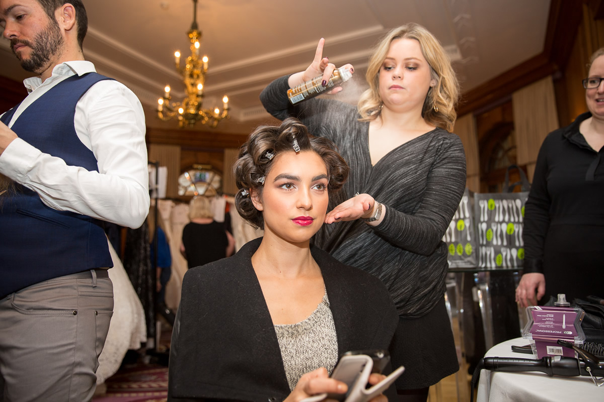 behind the scenes at caroline castigliano wedding dress show