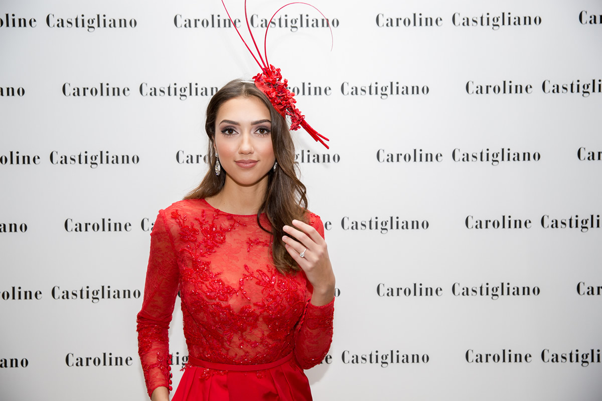 model in caroline castigliano evening wear