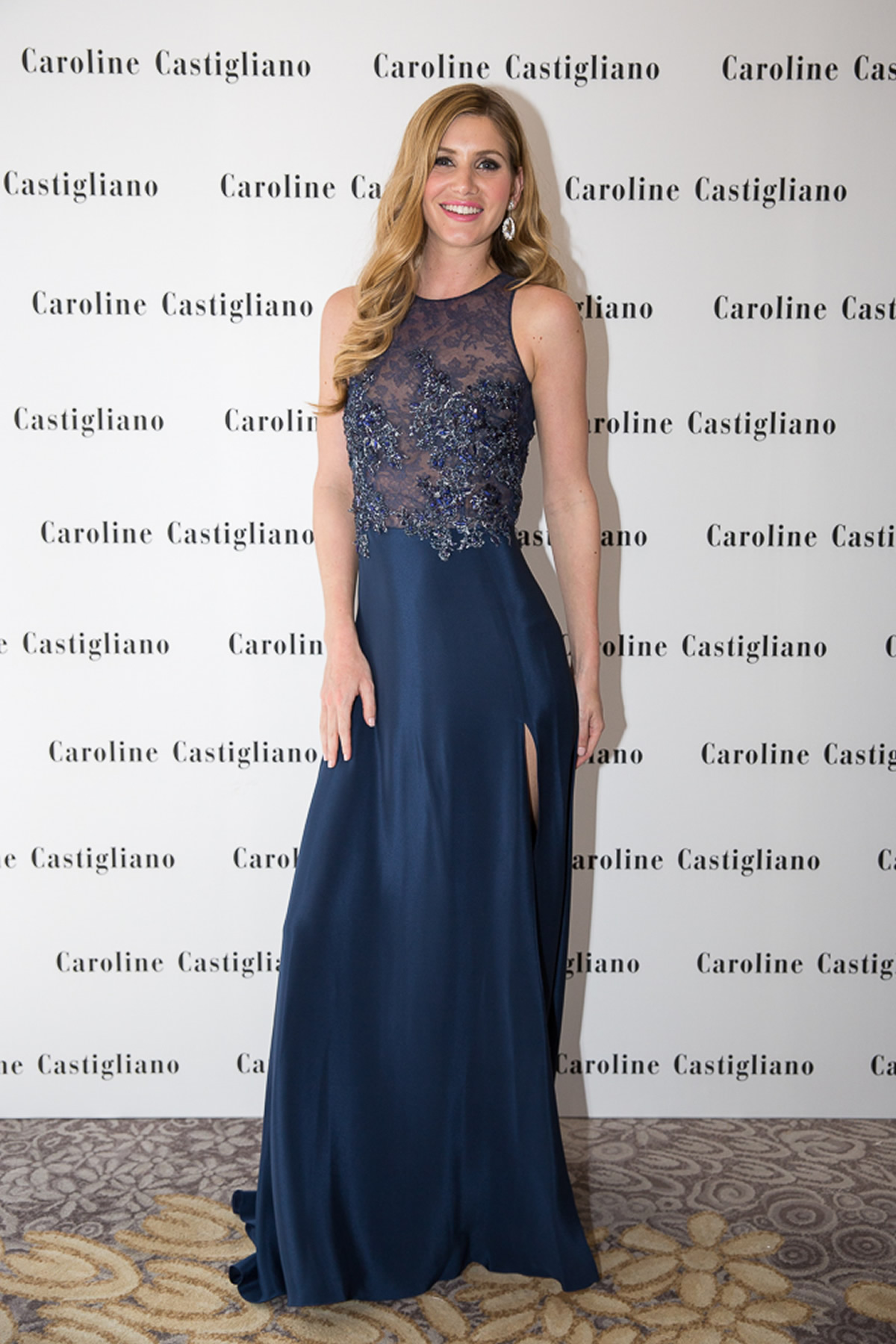 model in caroline castigliano evening wear