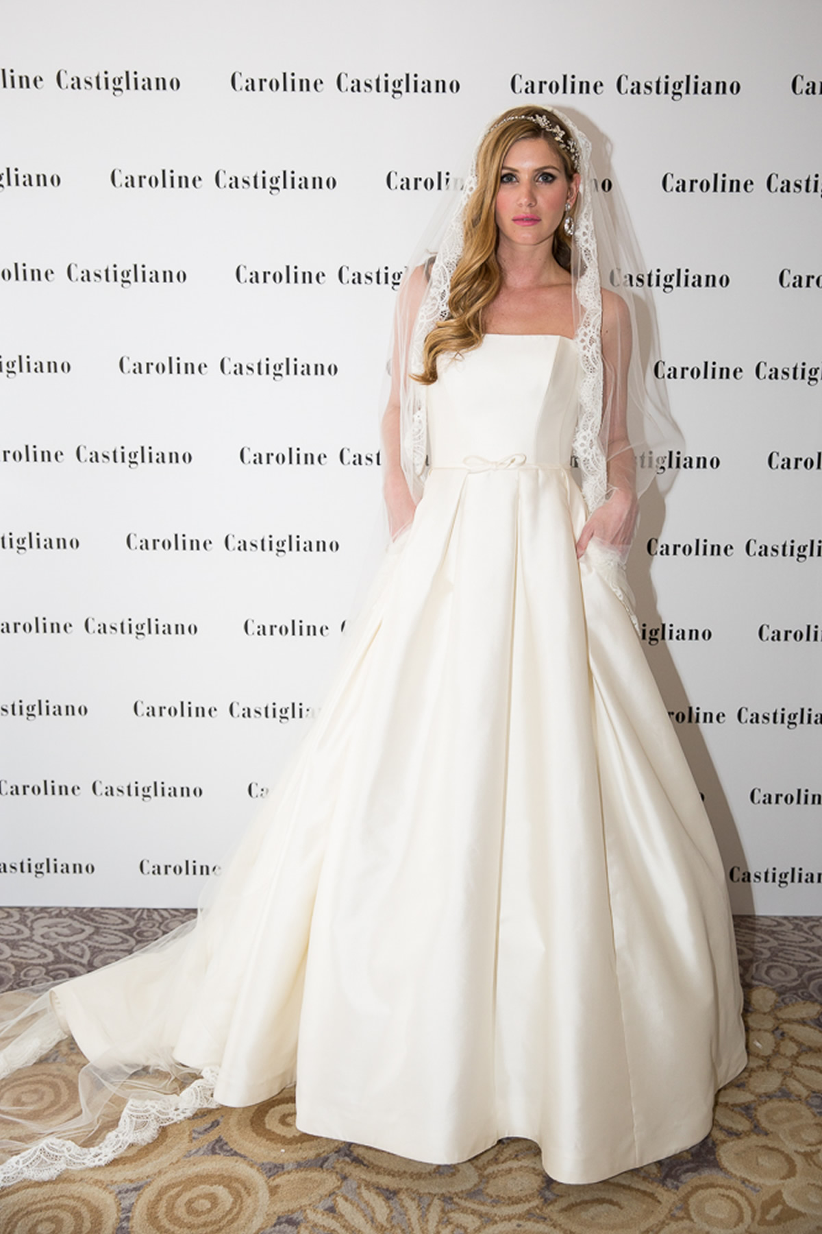 model bride in caroline castigliano wedding dress at The Dorchester