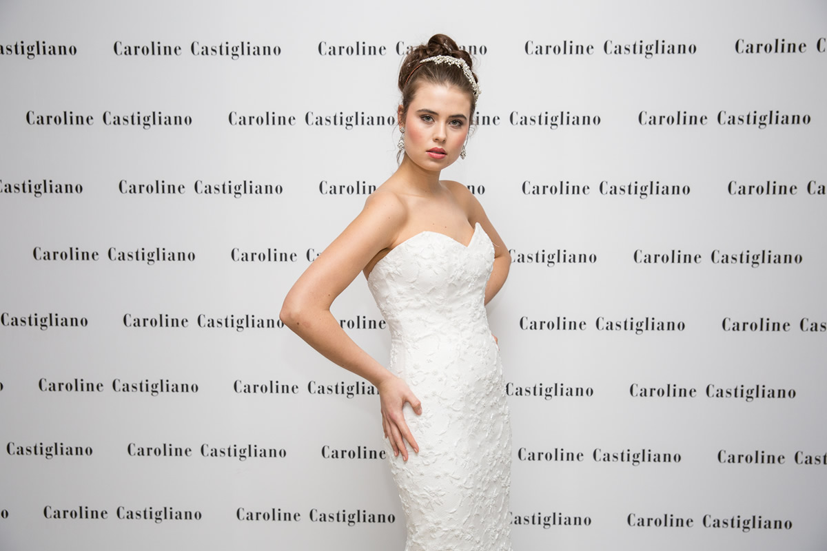 caroline castigliano wedding dress with model