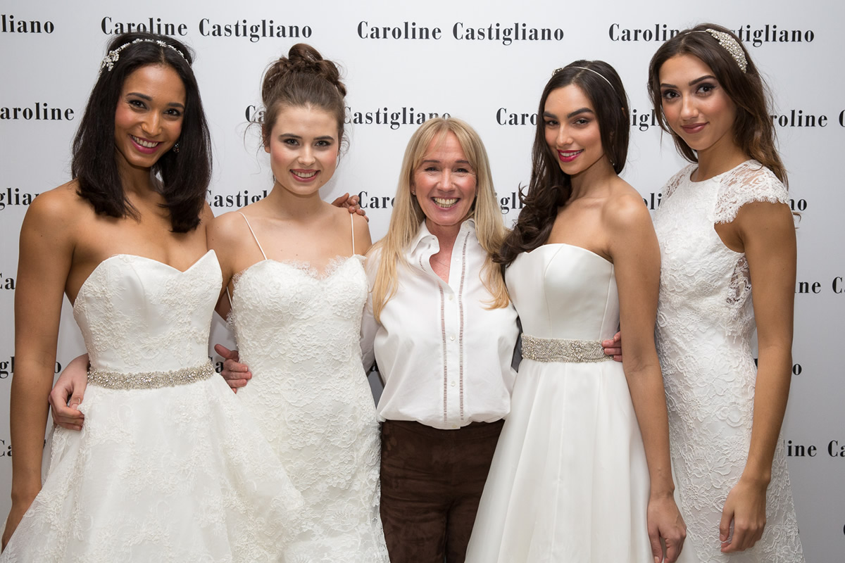 caroline castigliano and models in her dresses behind the scenes