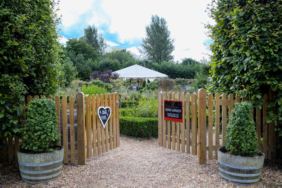 gates at chapel down winery ready for a wedding