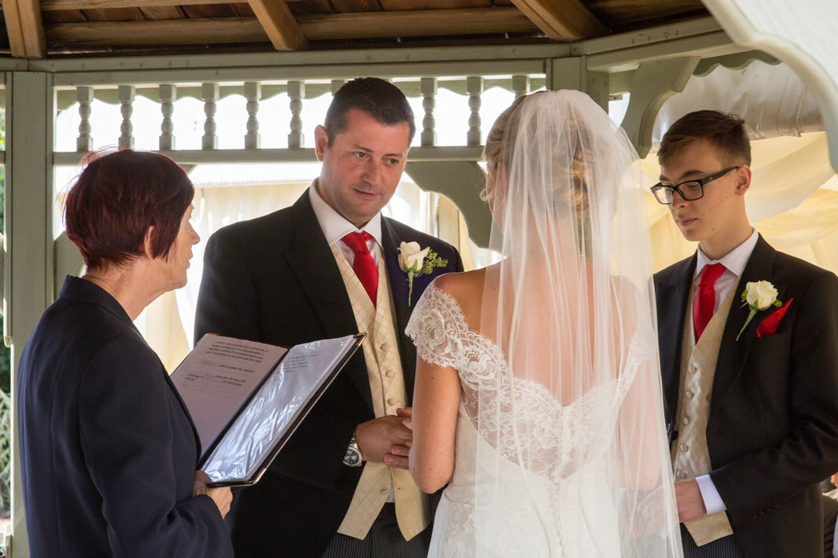 vows outside at chapel down wedding