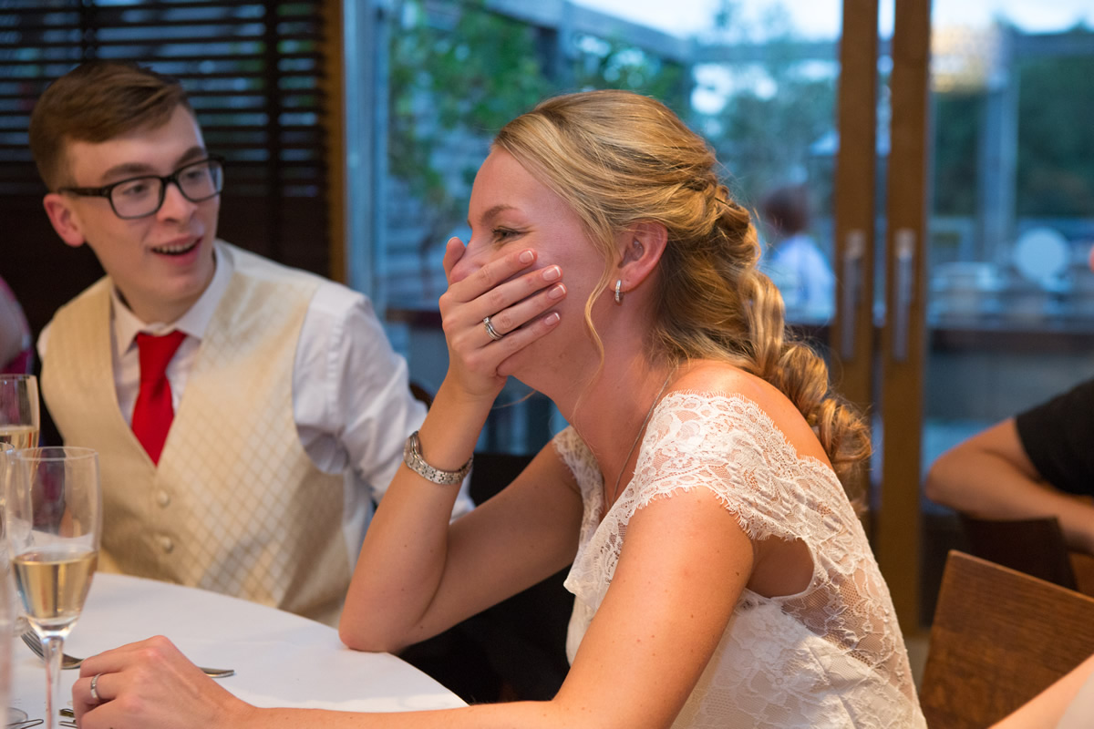 embarrassed bride at wedding speech