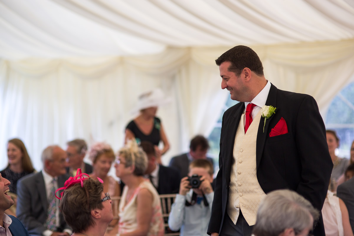 groom at chapel down wedding