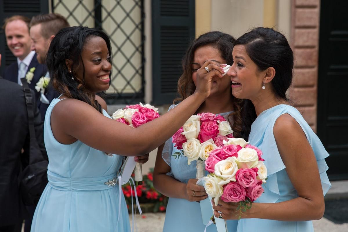 Bride crying at desintation wedding