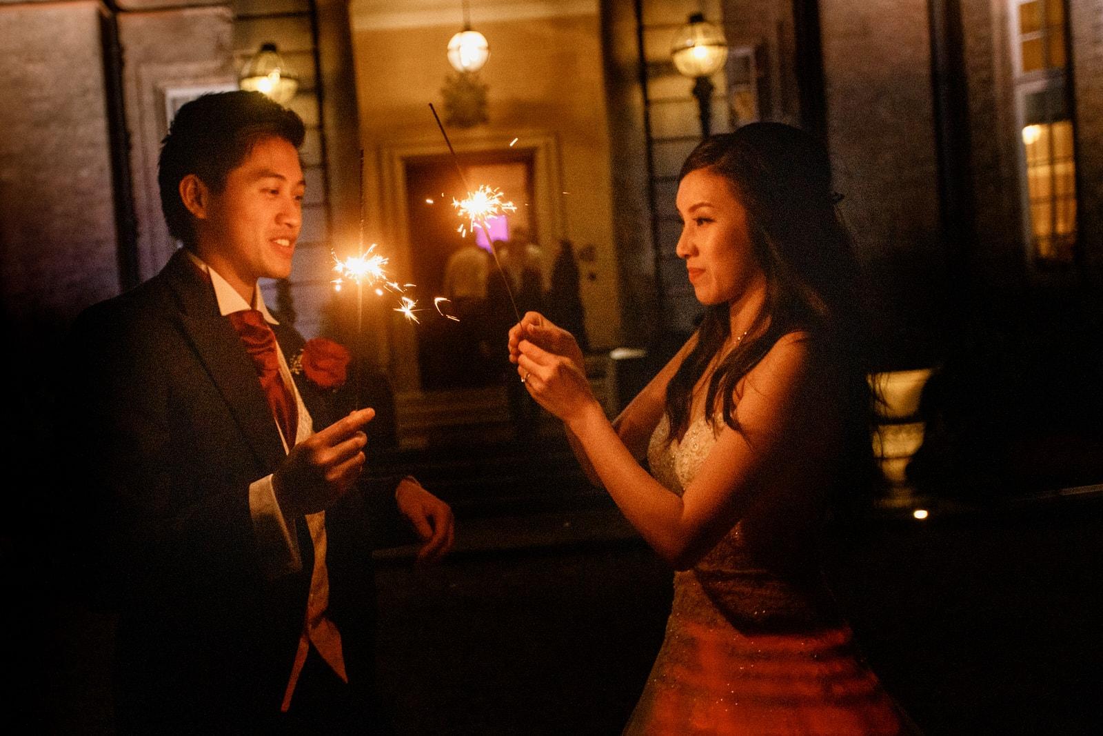 sparklers at hedsor house wedding