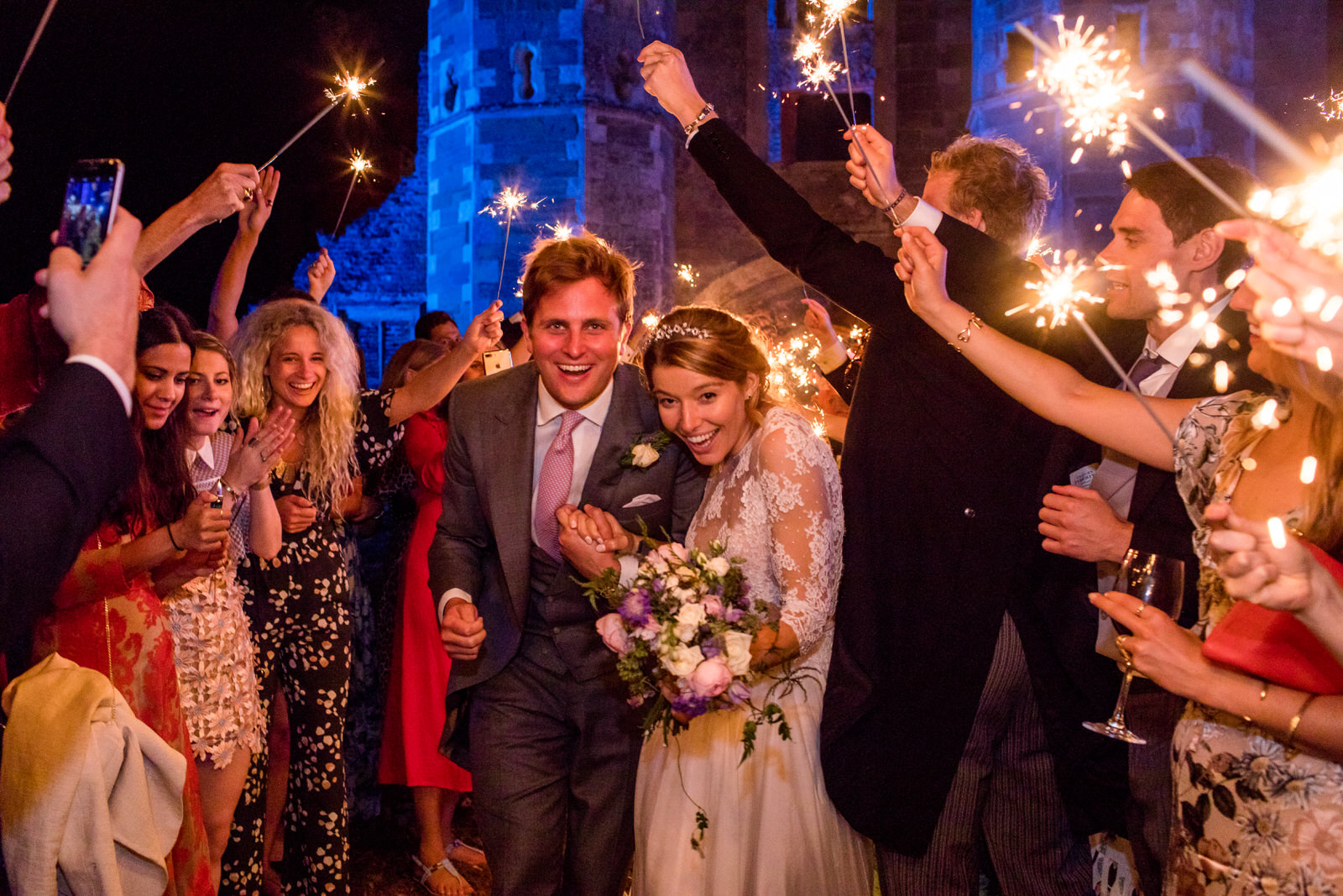 winter wedding idea with sparkler exit