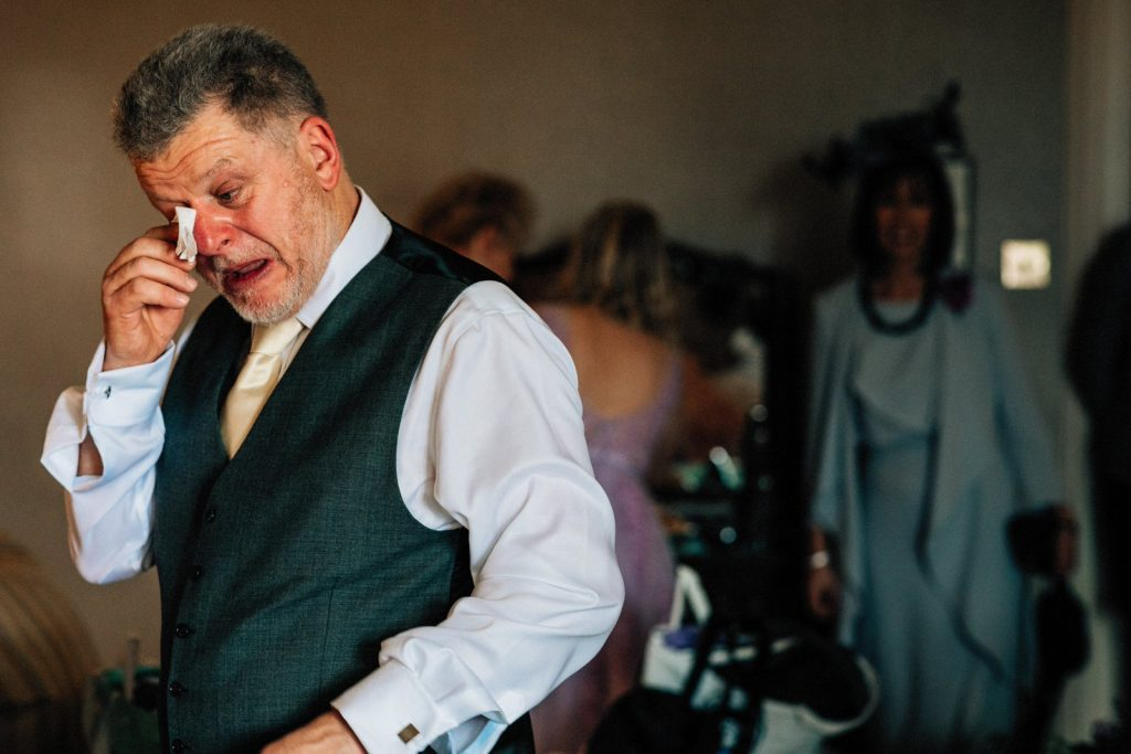 father of the bride in tears at ash down park hotel wedding