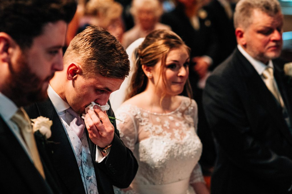 groom crying at ashdown park hotel wedding