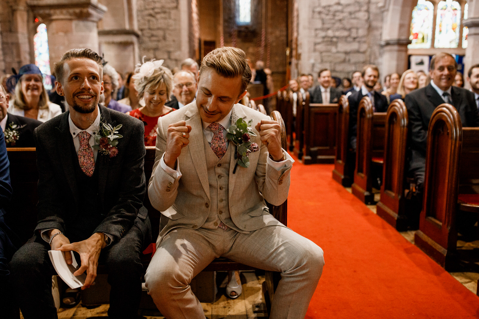 grooming excited about wedding