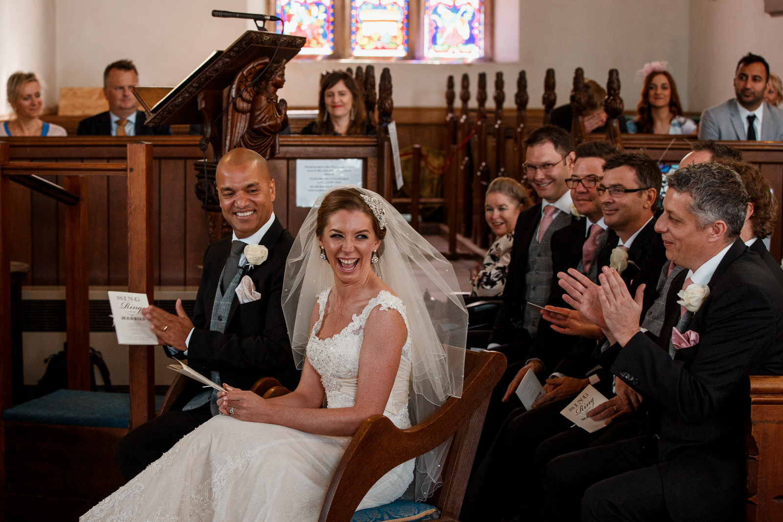 bride smiling in church