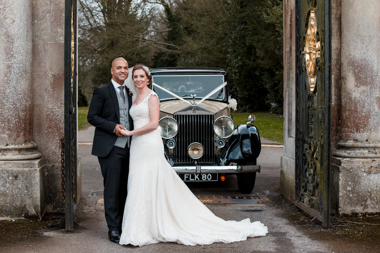 photograph at gates of bowood hotel wedding