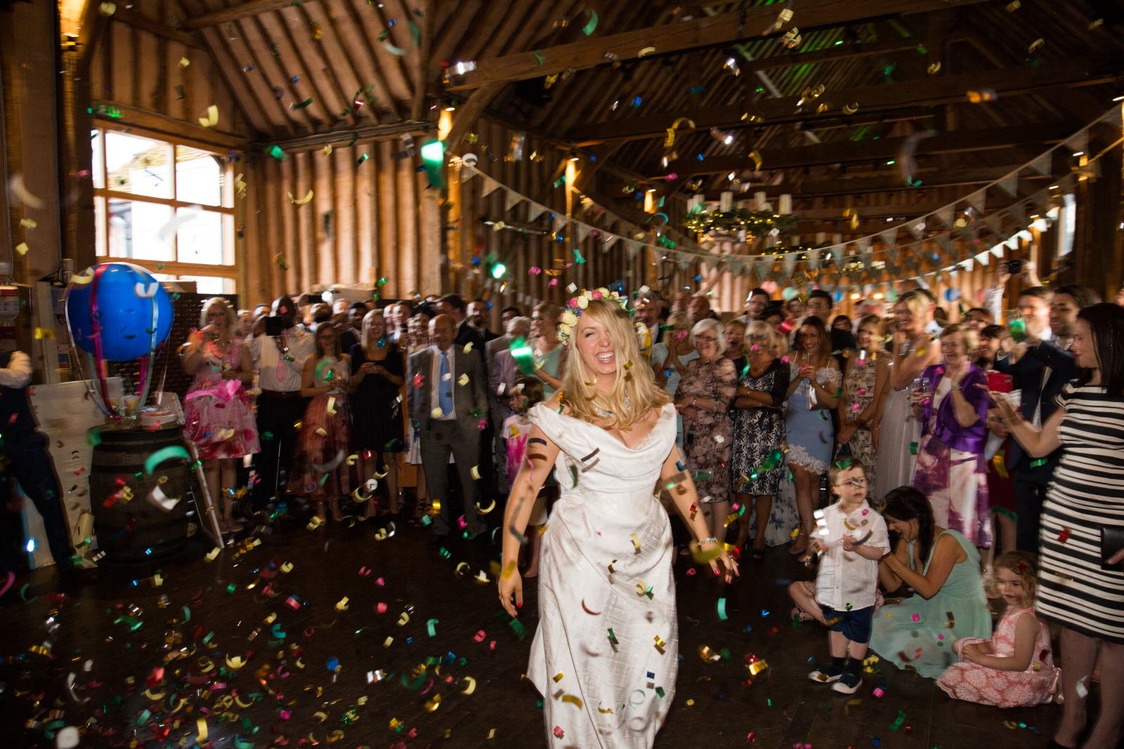 confetti canon at lillibrooke manor wedding