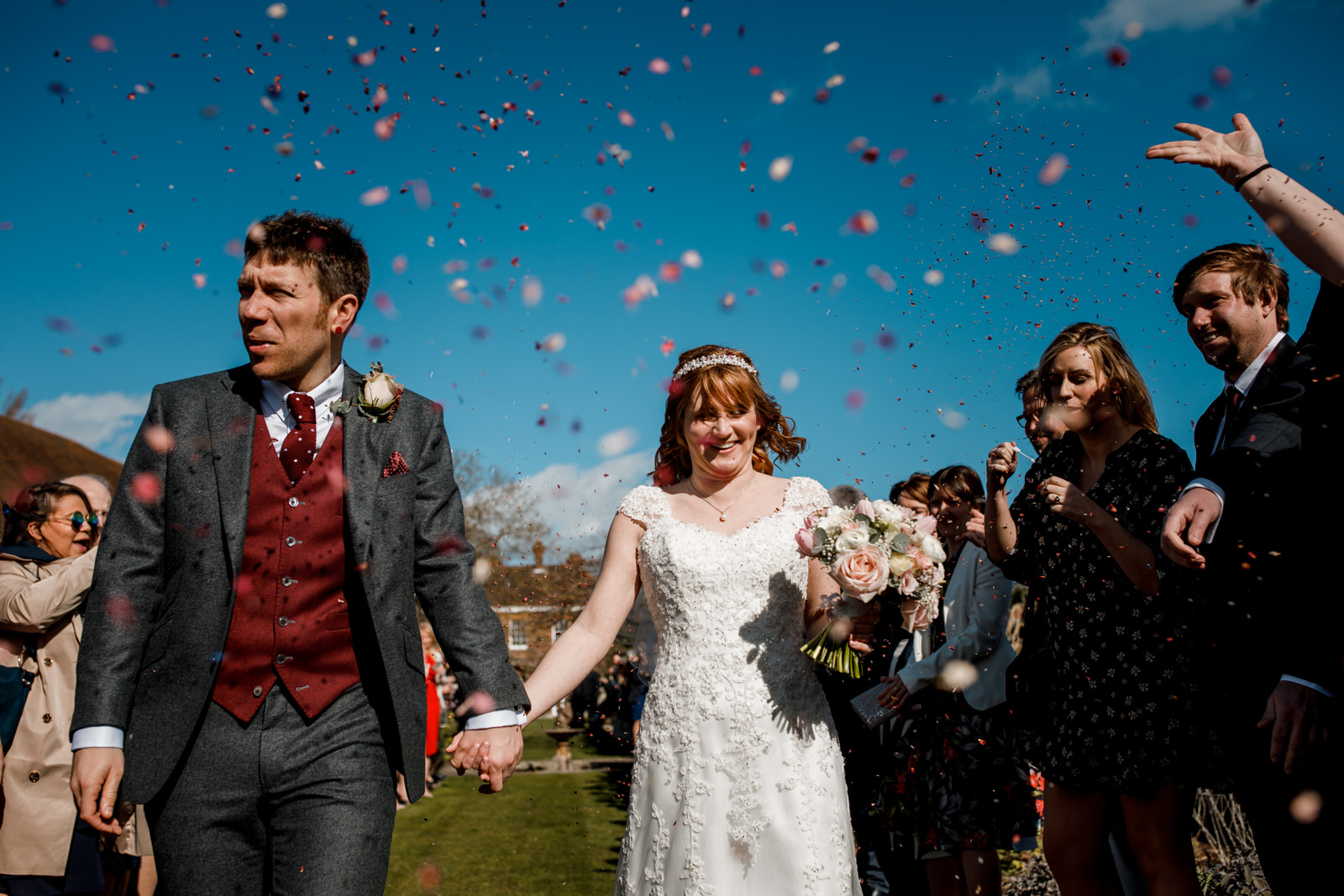 confetti shot in grounds of micklefield hall
