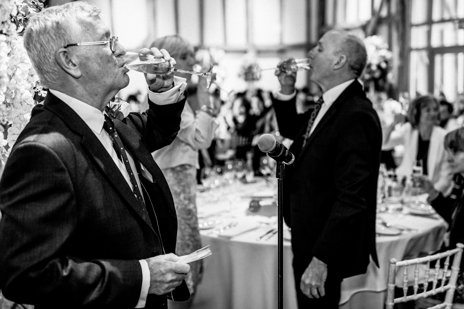 guests toasting champagne at wedding day