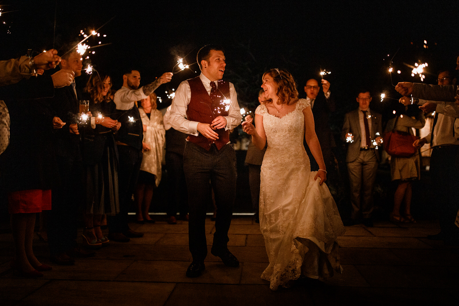 sparkler photograph at wedding