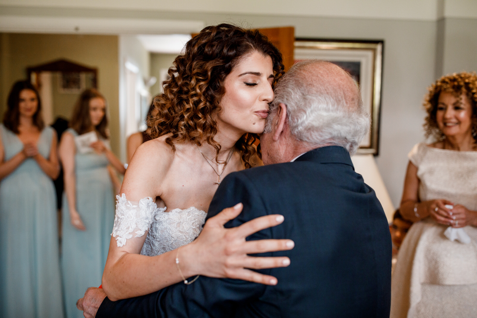 bride hugging granfather