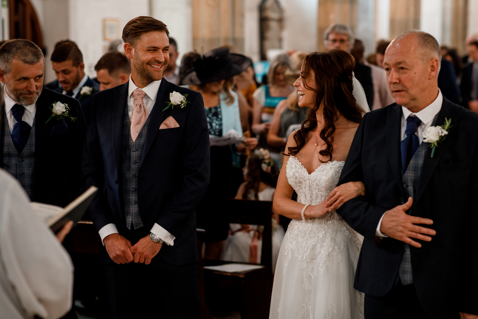 groom seeing bride for first time in church at old amersham
