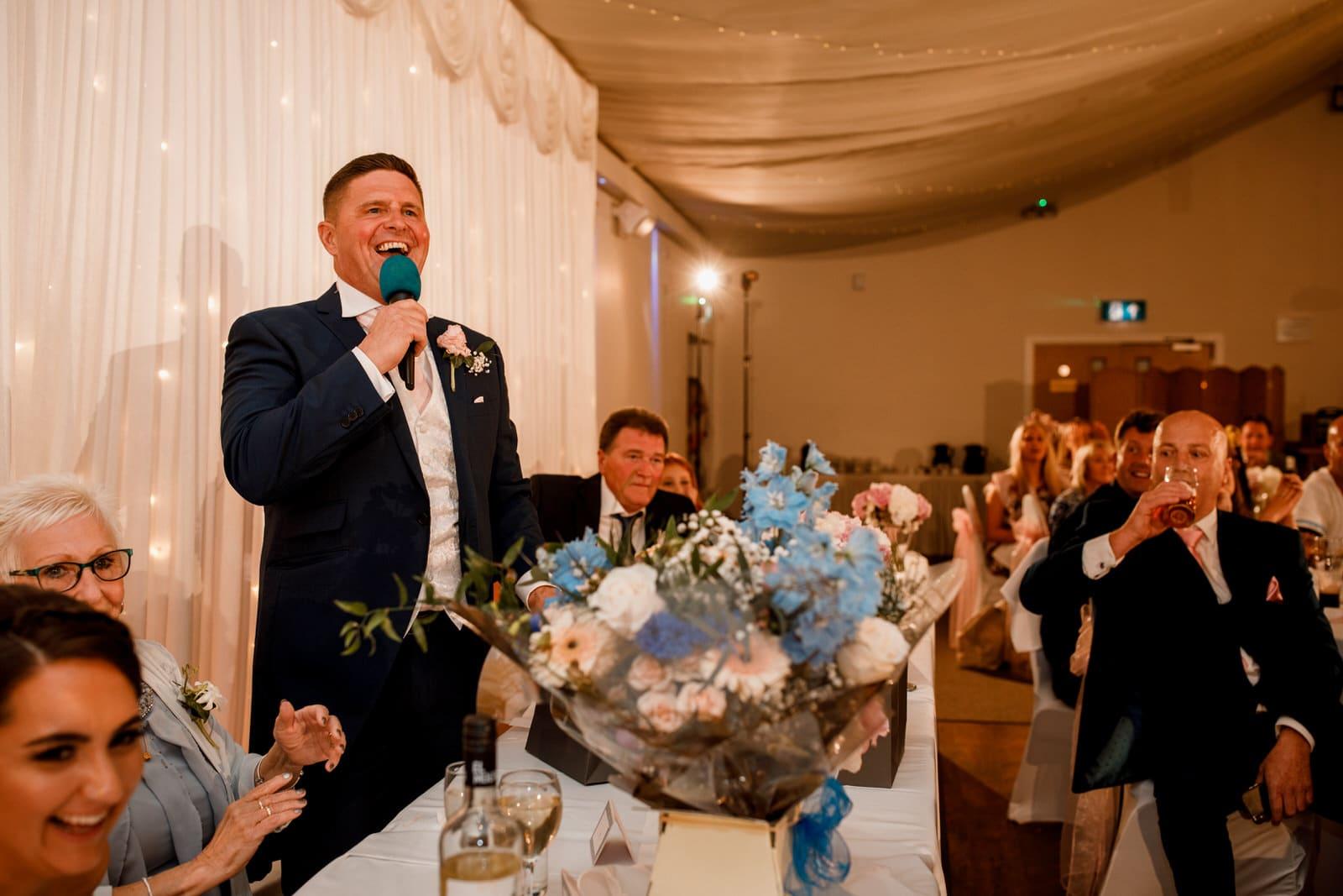 bride giving speech at ham yard hotel wedding