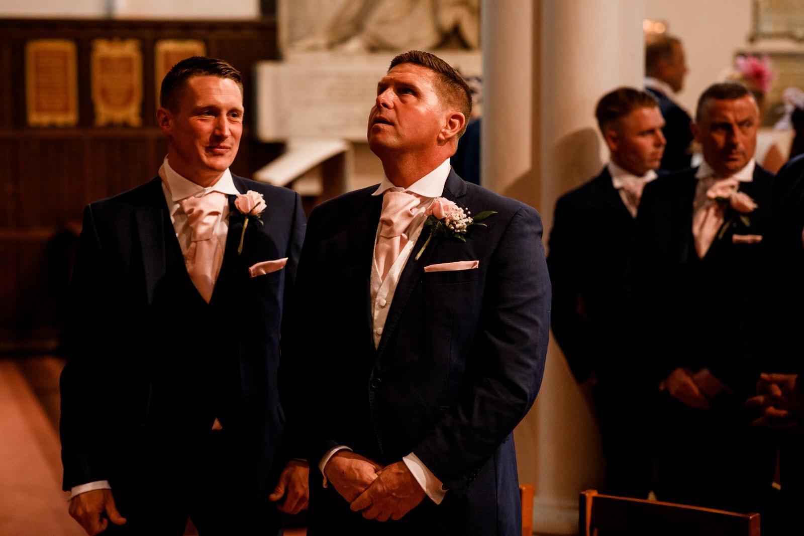 groom at ham yard hotel wedding