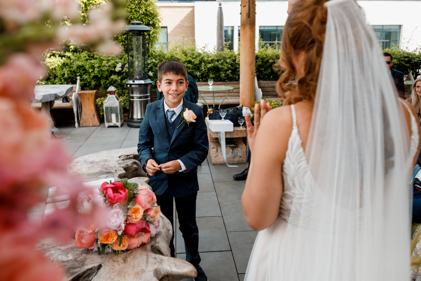 ring bearer at ham yard hotel wedding