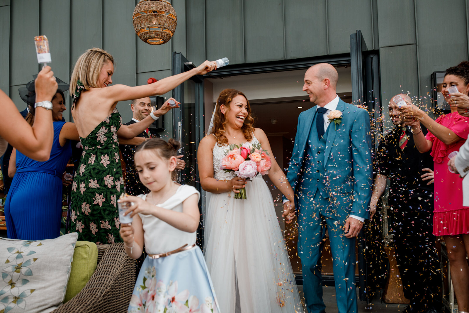 confetti throwing at ham yard hotel wedding