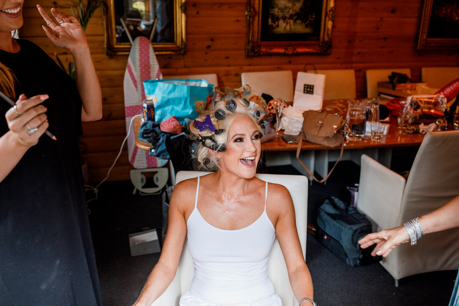 bride getting ready at crazy bear hotel stadhampton