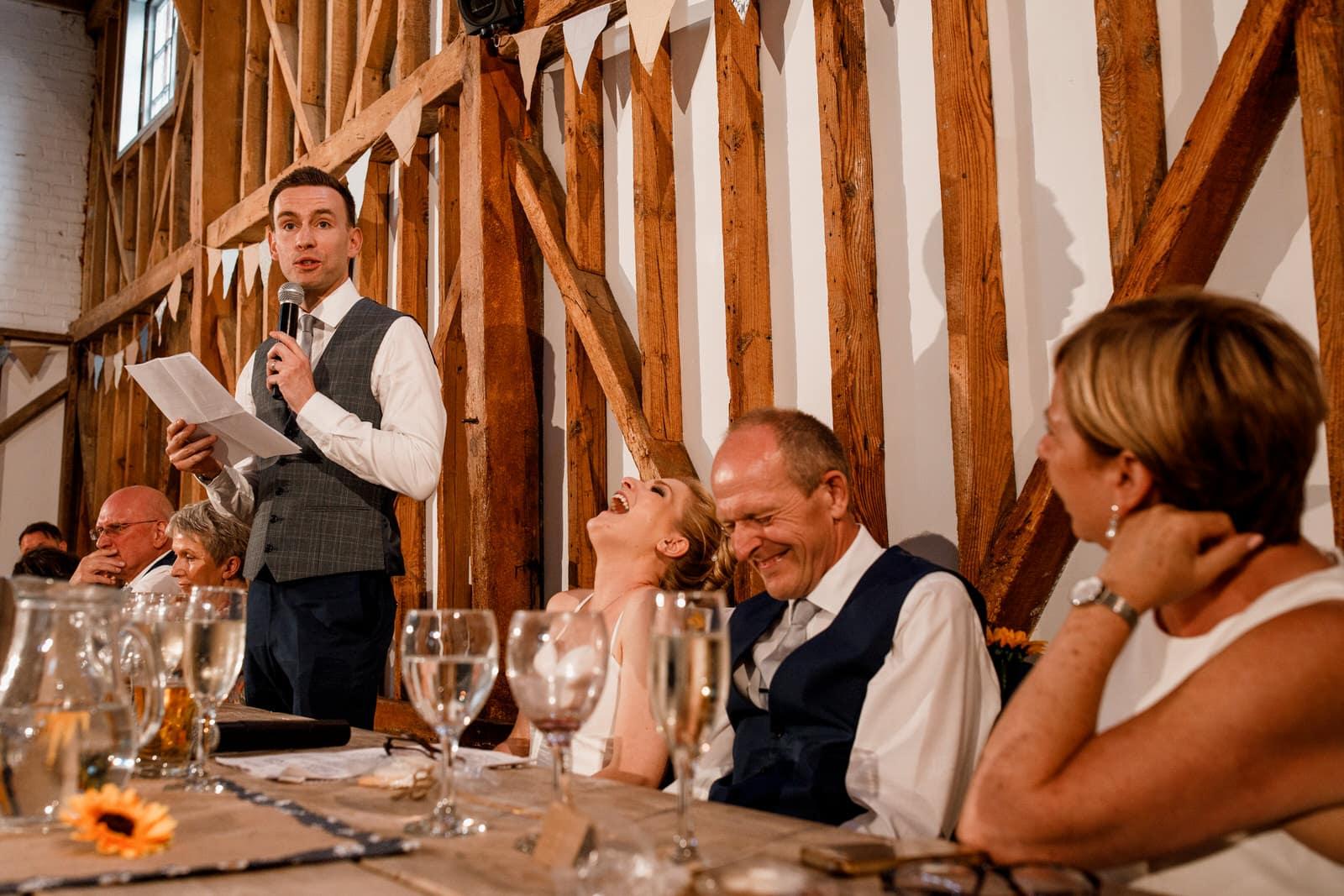 groom speech at milling barn