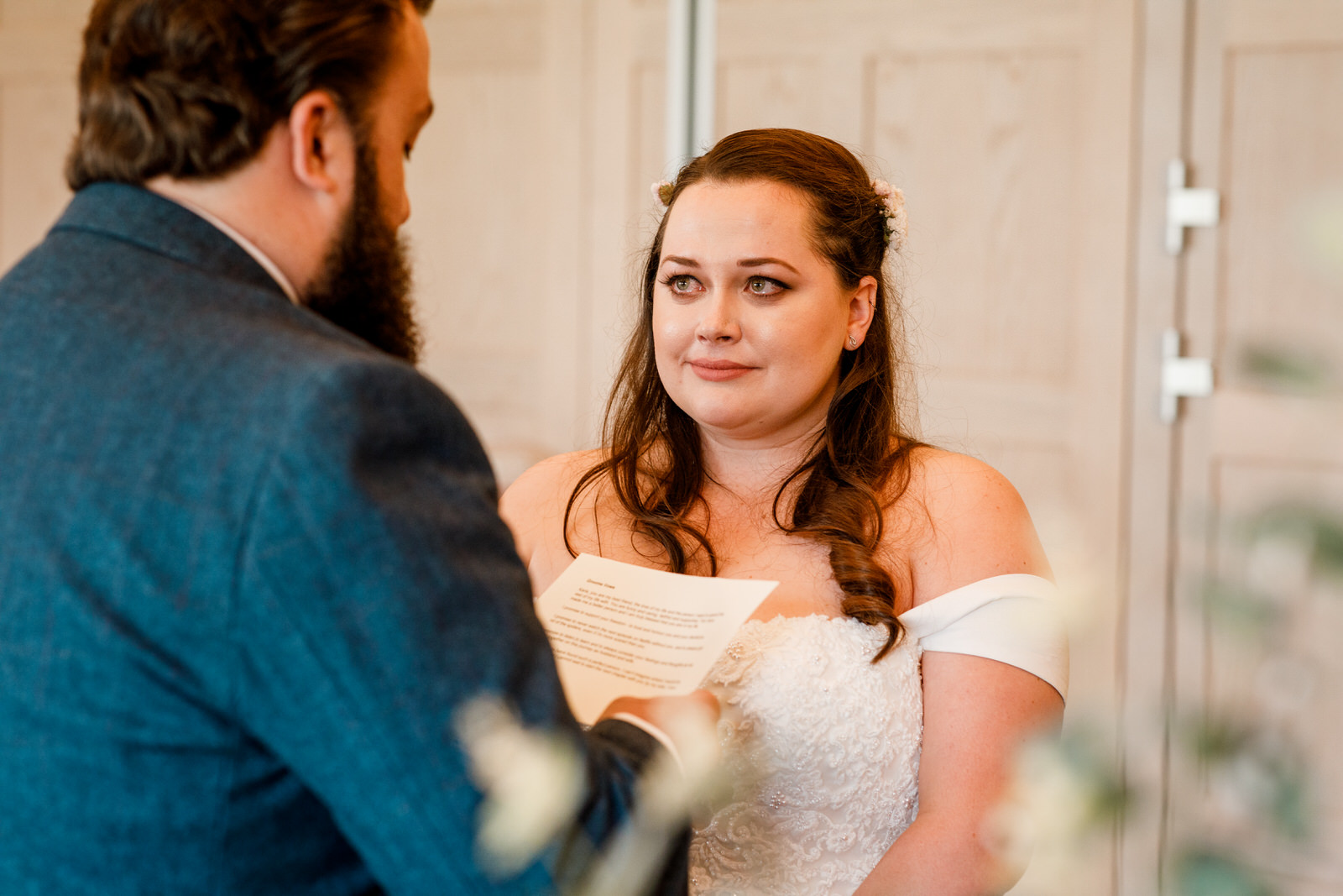 tear in brides eye at ceremony