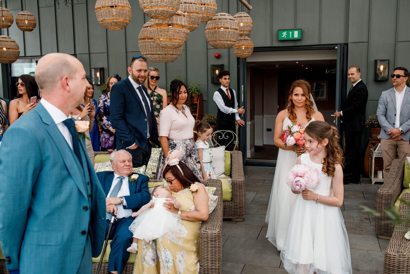 bride arriving at ham yard hotel wedding