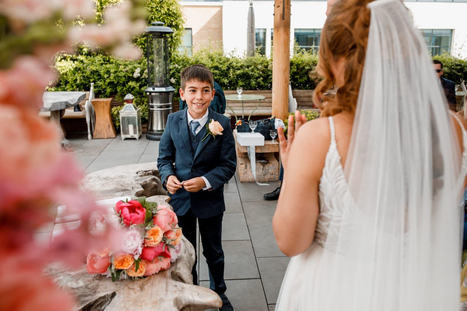 page boy as ring bearer at wedding
