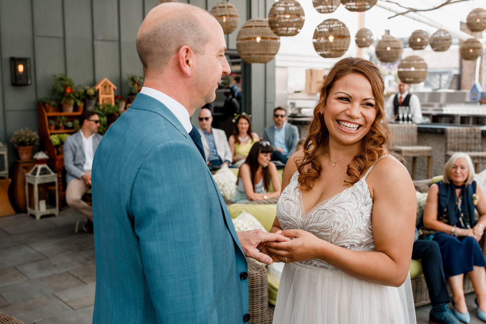 bride and groom at ham yard hotel