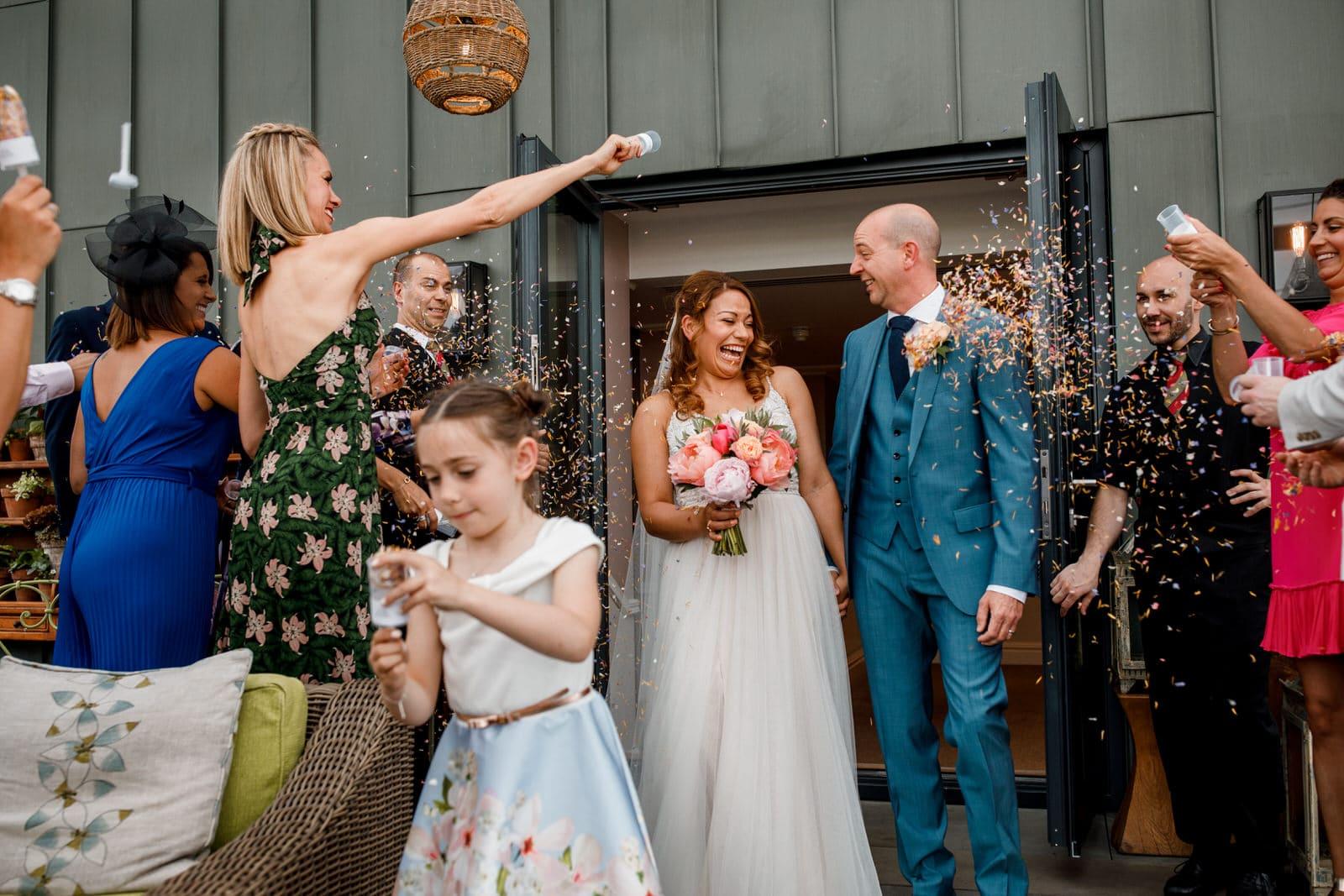 confetti throw at ham yard hotel wedding