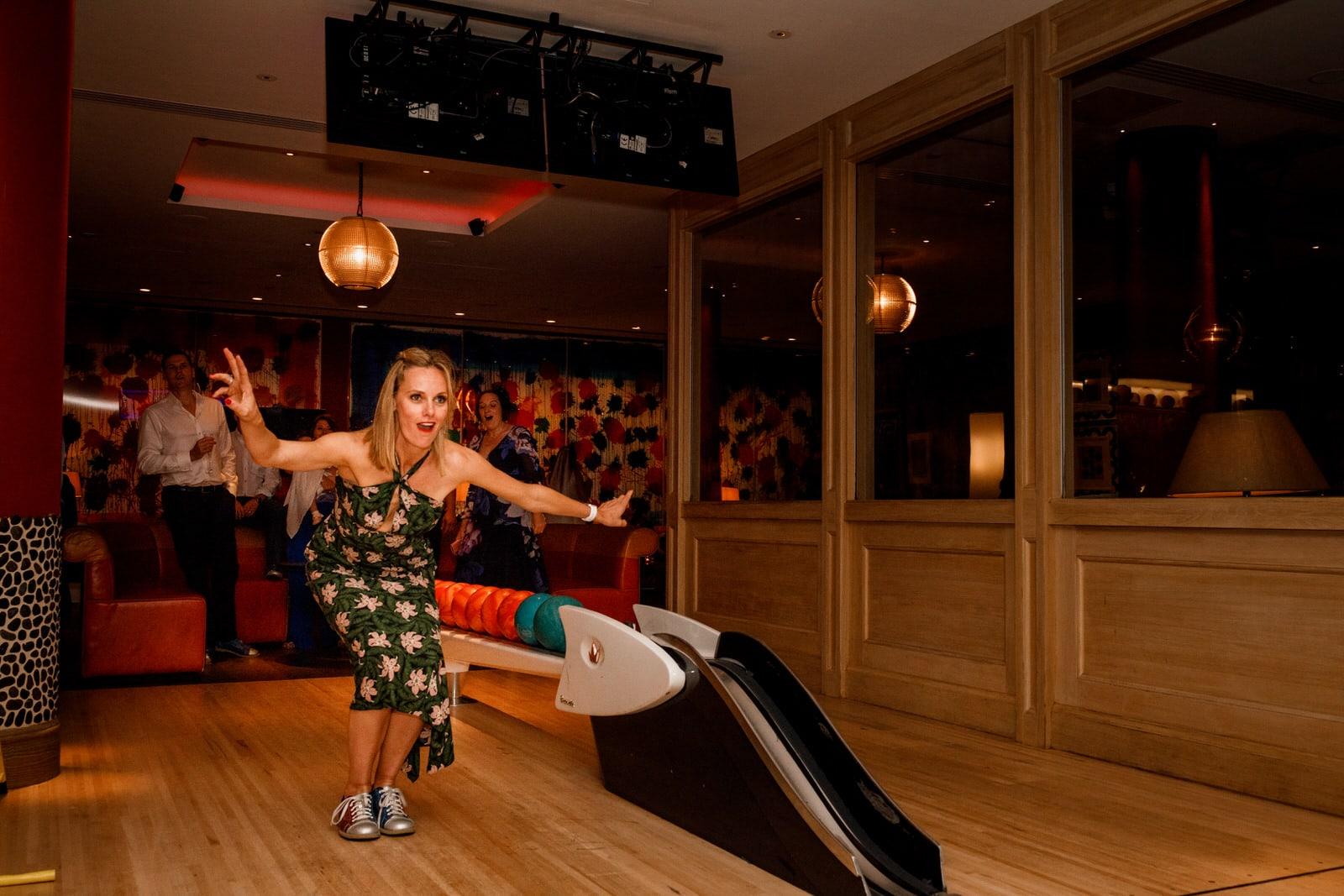 bowling at ham yard hotel wedding
