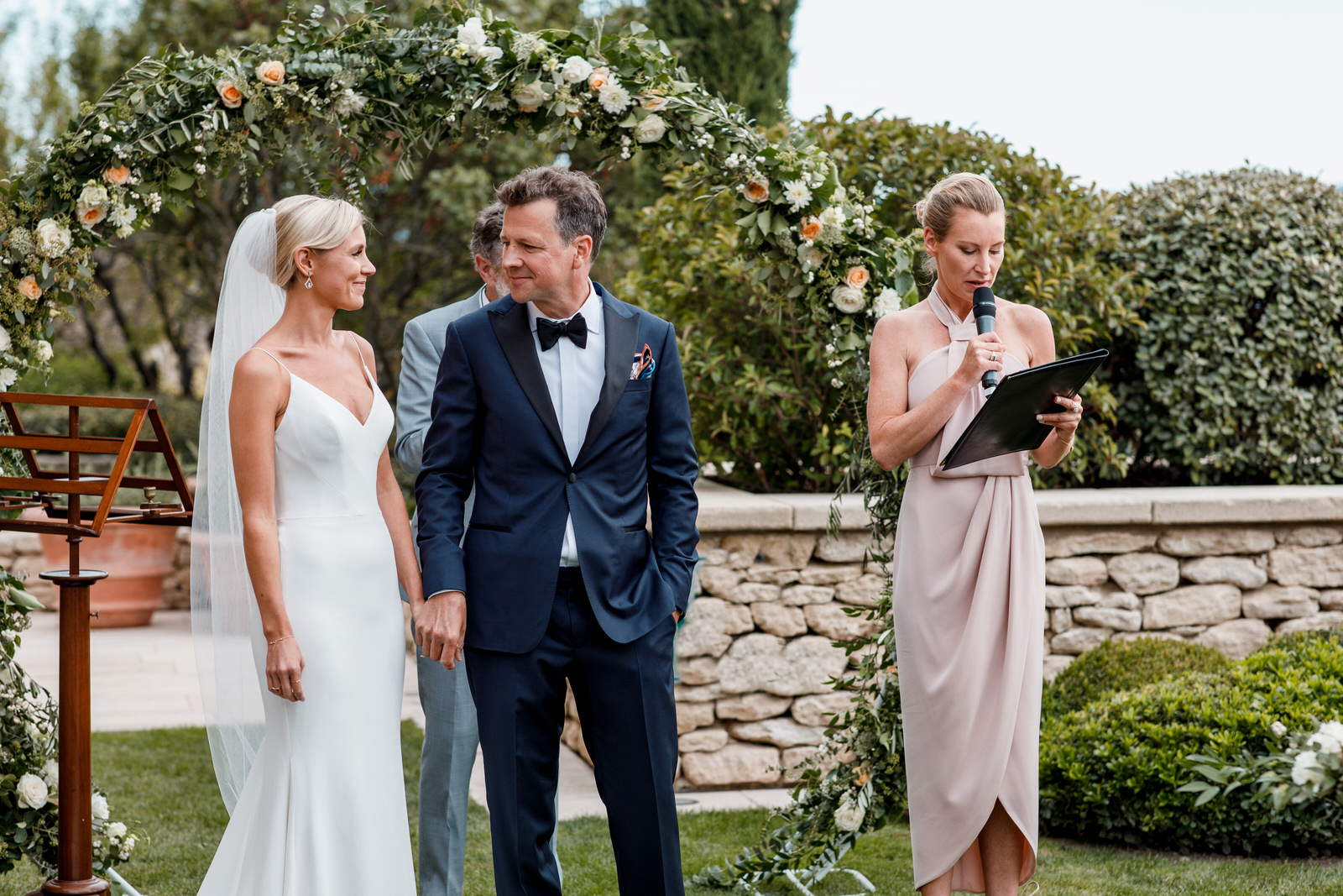 bride and groom in garden at la bastide de gordes wedding