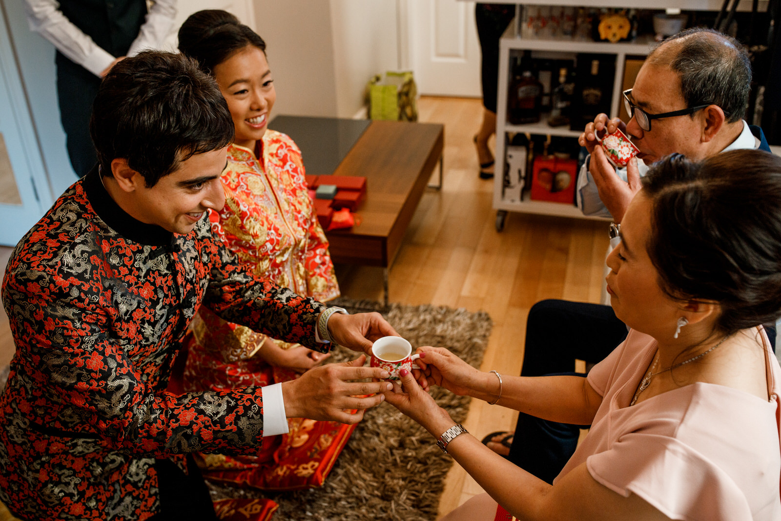 passing chinese tea at tea ceremony
