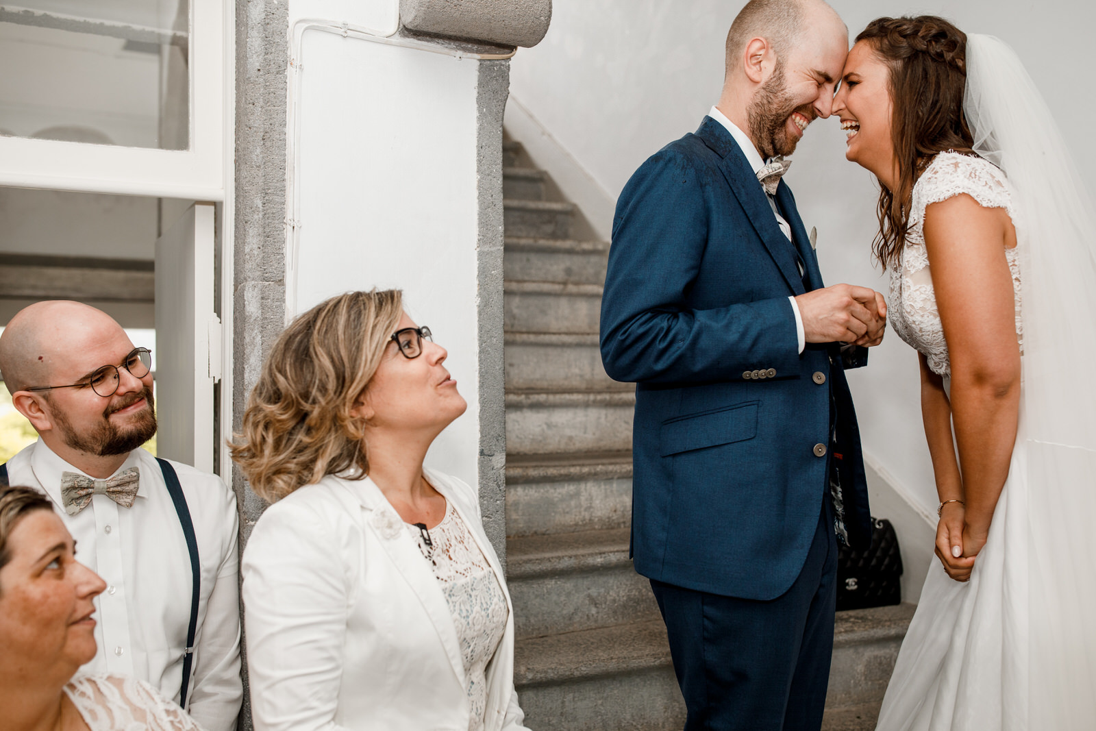 bride laughing at wedding vows