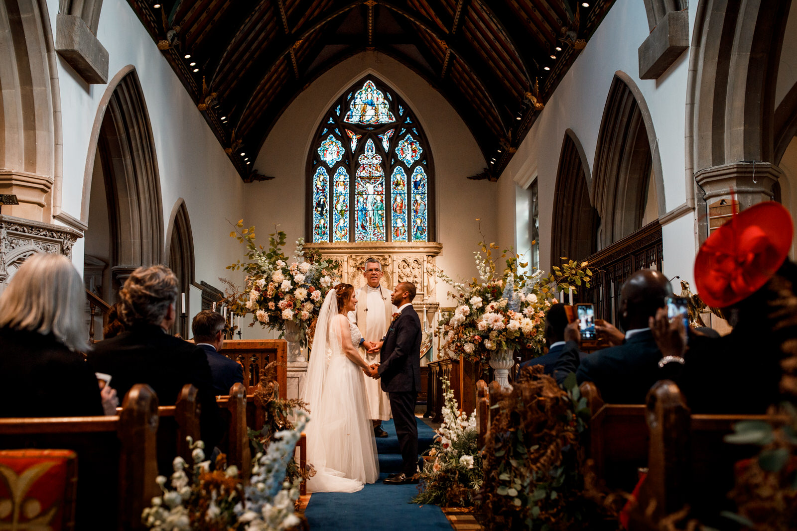 bride and groom at beaconsfield church