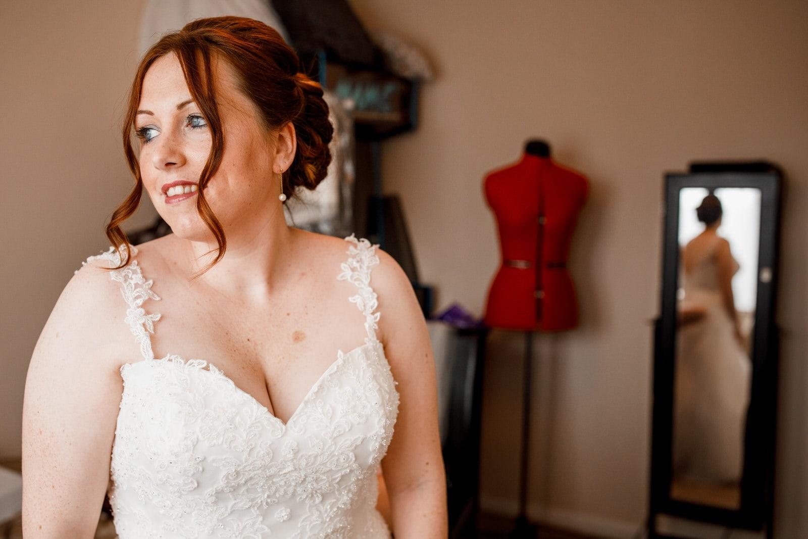 bride getting ready for blenheim palace wedding