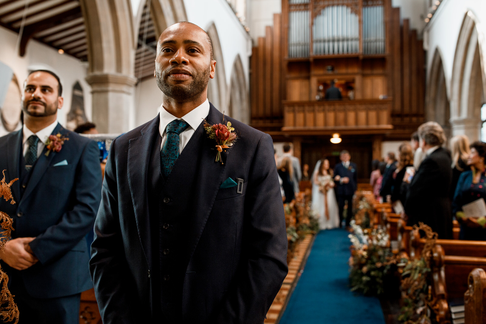 groom waiting for bride at beaconsfield church