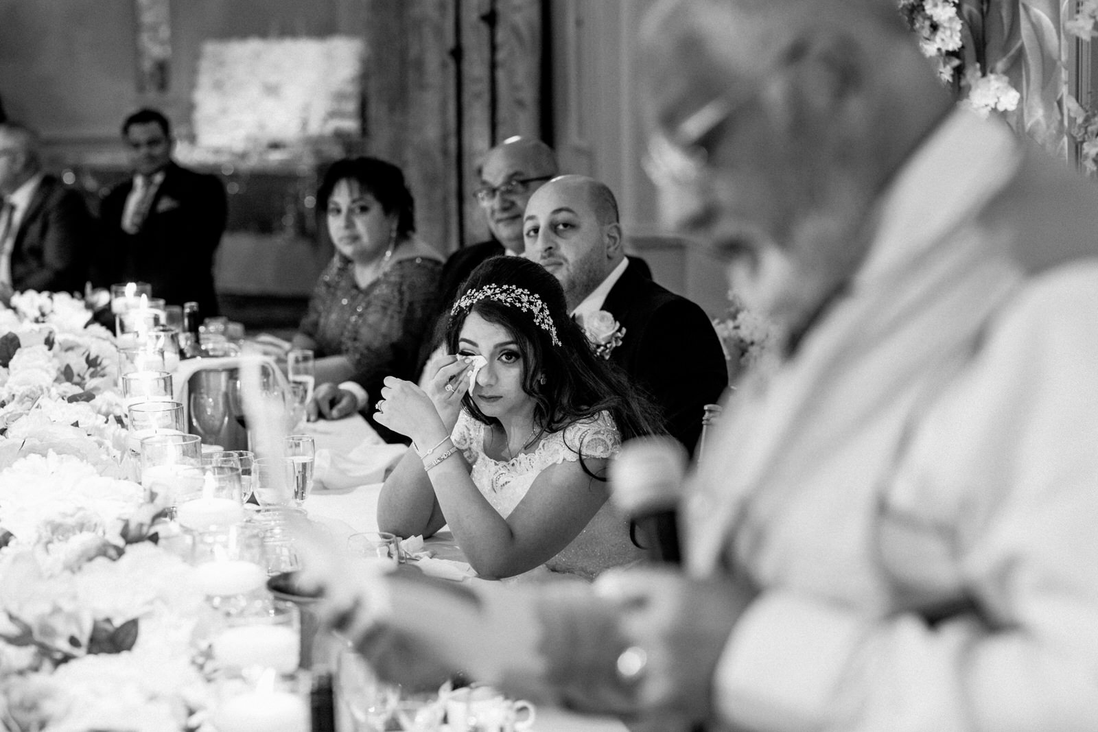 bride crying at fathers wedding speech