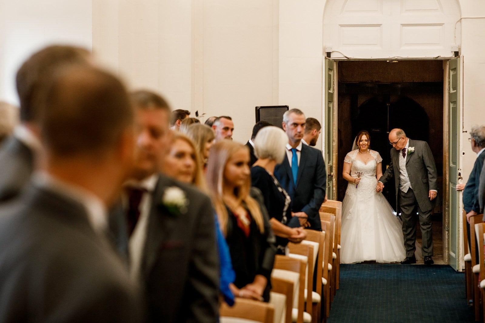 bride arriving for blenheim palace wedding