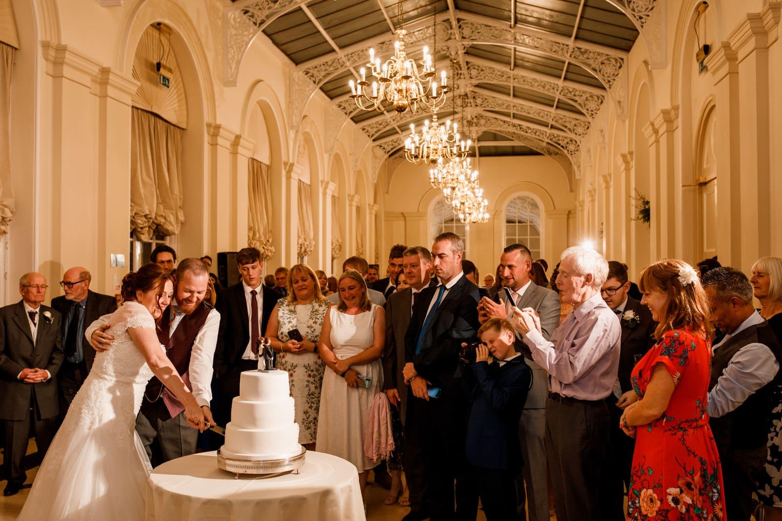 cake cut in orangery at blenheim palace
