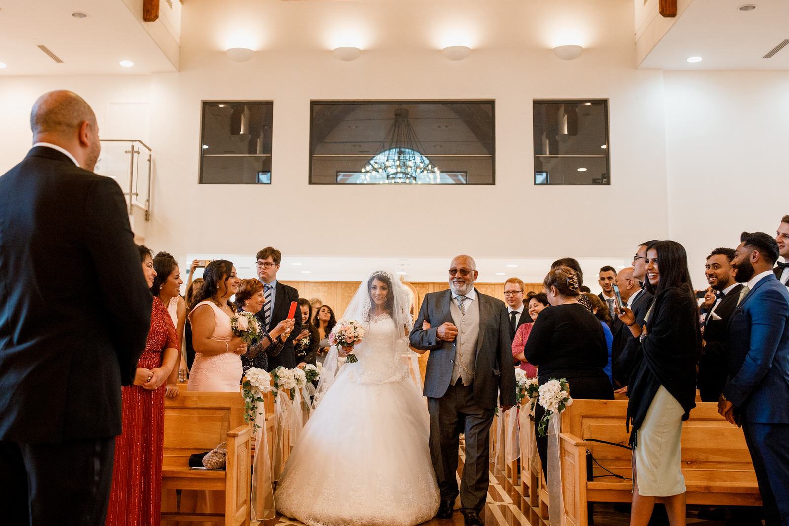 bride walking down aisle for egyptian wedding