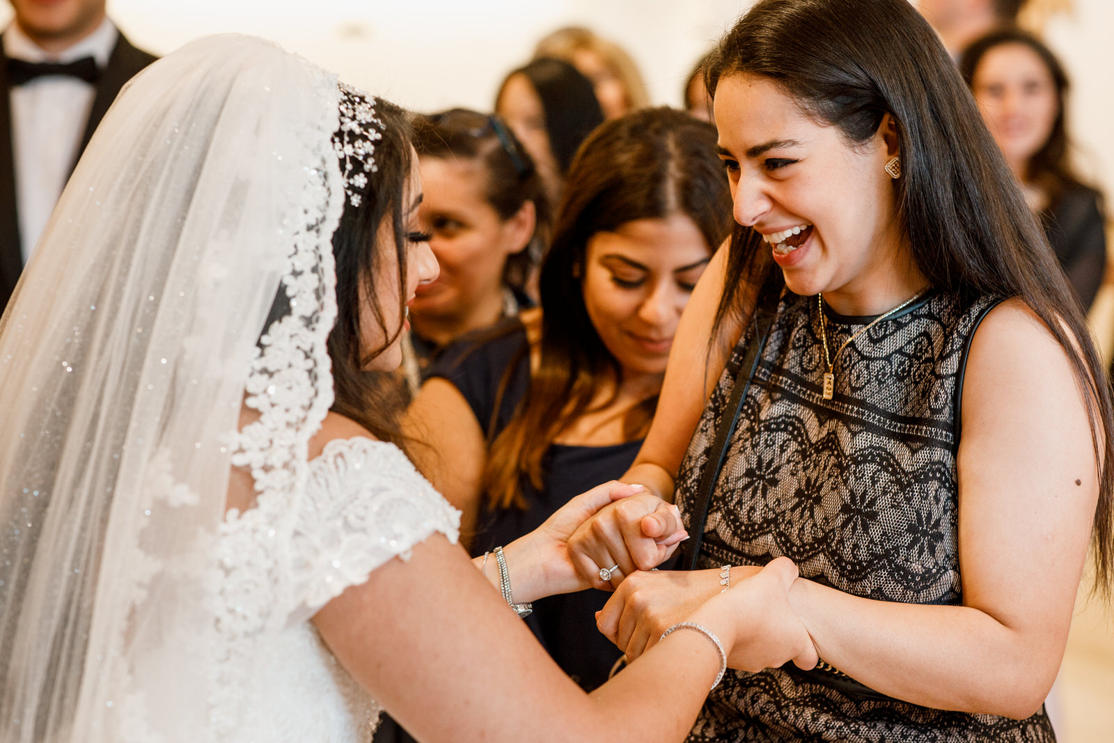 Egyptian bride being congratulated