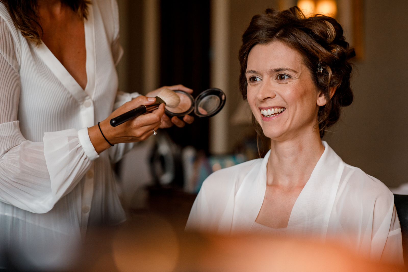 bride getting ready at ashdown park hotel